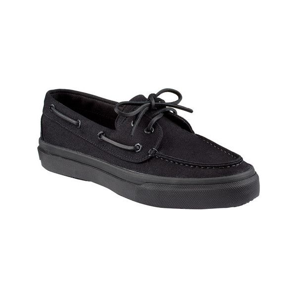Men's Sperry Top-Sider Bahama 2-Eye - Black/Black Canvas Casual ($60) ❤ liked on Polyvore featuring men's fashion, men's shoes, black, casual, sailing shoes, mens lightweight running shoes, mens breathable shoes, mens black shoes, sperry mens shoes and mens canvas shoes