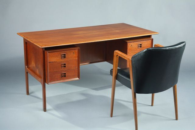This Mid Century Office Set Consisting Of A Writing Desk And Desk Chair Was Designed By Arne Vodder And Pro Mid Century Desk Home Office Design Armchair Sets