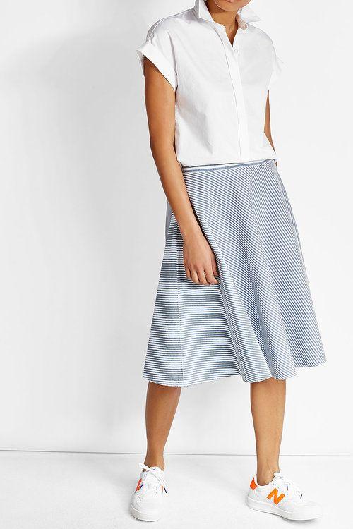 Полосатая юбка с хлопка и льна   закрытые