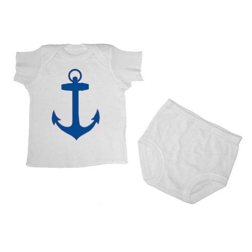 Pirates and Anchors - Anchor - Short Sleeve T-Shirt and Diaper Cover Set (6 Months White)