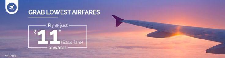 IndiGo Jet Airways SpiceJet  Base Fares Starting @ Rs 11 Only