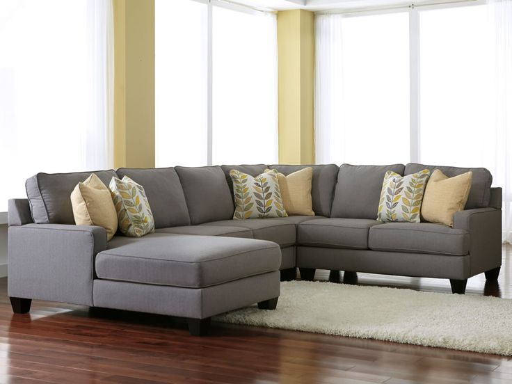 grey sectionals with chaise | Chamberly Alloy 4 Piece Modular Sectional Fabric Sofa