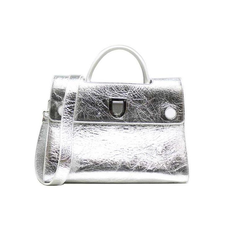 Christian #dior Ever 2 Way Shoulder Bag Silver Grain Leather Women's