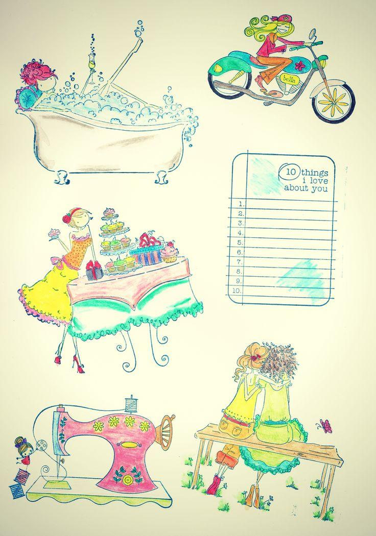 ChicasCinderella - pintadas con acuarelas - con efecto