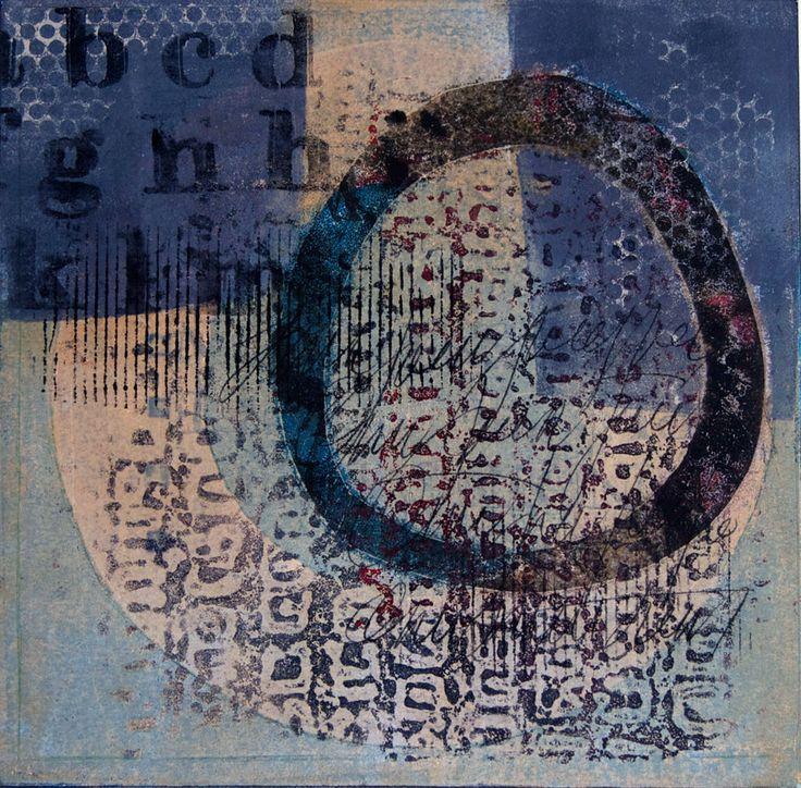 "Veiled Vestige, Monotype by Anne Moore, 10""x10"""