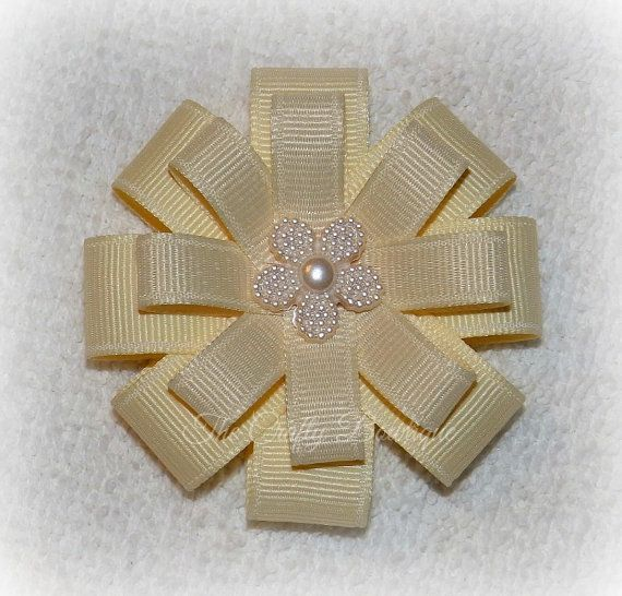 Ivory Cream Bow  Small Ivory Cream Bow  by TandRCraftyBowtique