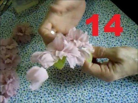 AULA 14: ARRANJOS DE FLORES DE TECIDO PARA VESTIDOS DE  DAMAS