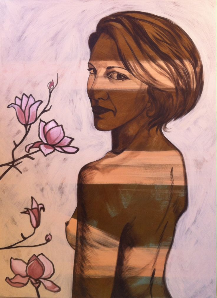 Portrait I did of a friend done in the style of Bromley. Painted in acrylic on canvas, by Tara Green.