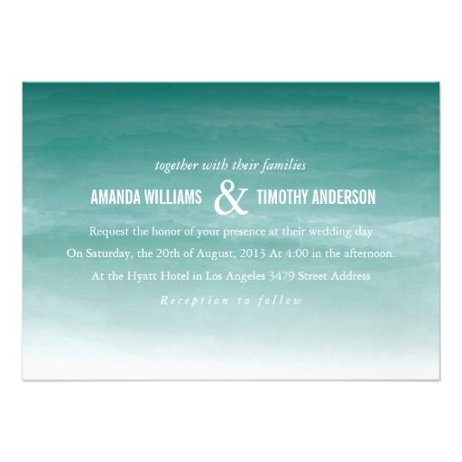 Teal Watercolor Ombre Wedding Invitation