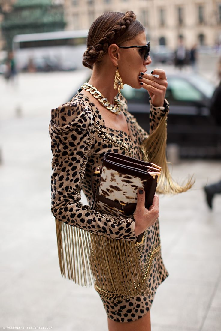anna anna anna!!!!!  anna dello russo in balmain leopard fringed cocktail!  love love love!