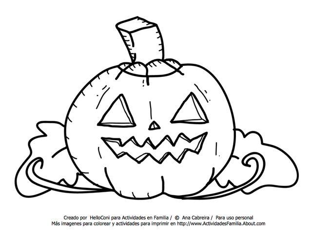 Dibujo De Calabaza De Halloween Con Hojas Para Colorear Dibujos Para ...