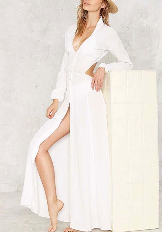 0cae67760d13 White Plain Single Breasted Cut Out V-neck Long Sleeve Fashion Maxi Dress