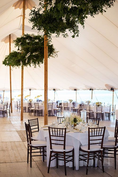 Seaside Chic Nantucket Wedding, Tent Interior | Brides.com
