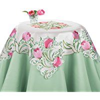 Embroidered Floral Tulip Table Linens, Square