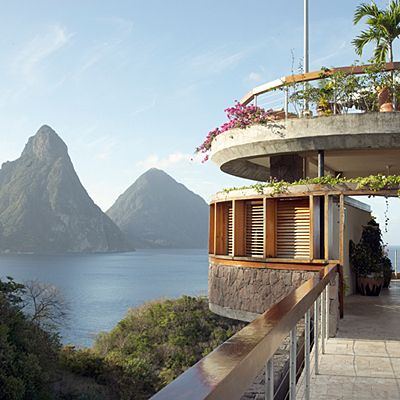 Best Beach Hotels in the World: Jade Mountain, Soufrière, St. Lucia. The most well-traveled guest still can't help but gasp when entering any of Jade Mountain's 29 suites to take in the view across Soufrière Bay to St. Lucia's fabled Piton peaks. Coastalliving.com