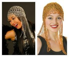 SILVER GOLD BEADED ABBA HEADPIECE EGYPTIAN 1970'S CLEOPATRA FANCY DRESS