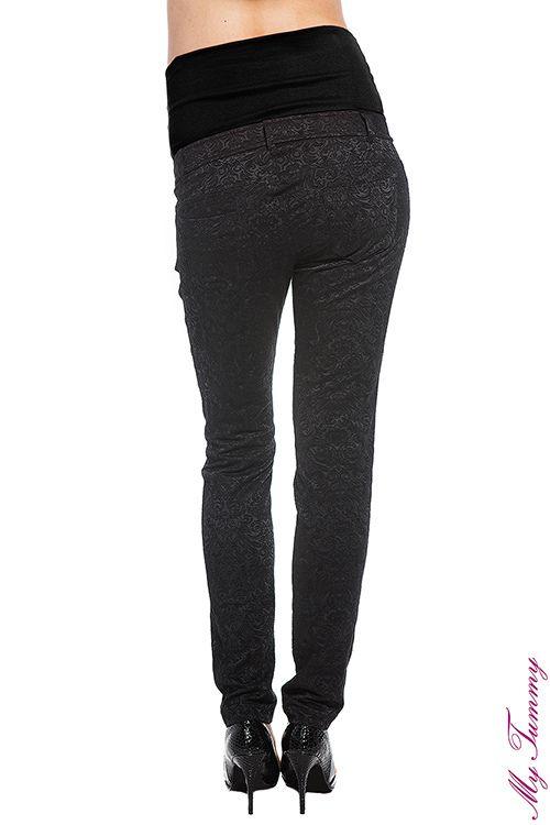 pantaloni premaman jacquard nero