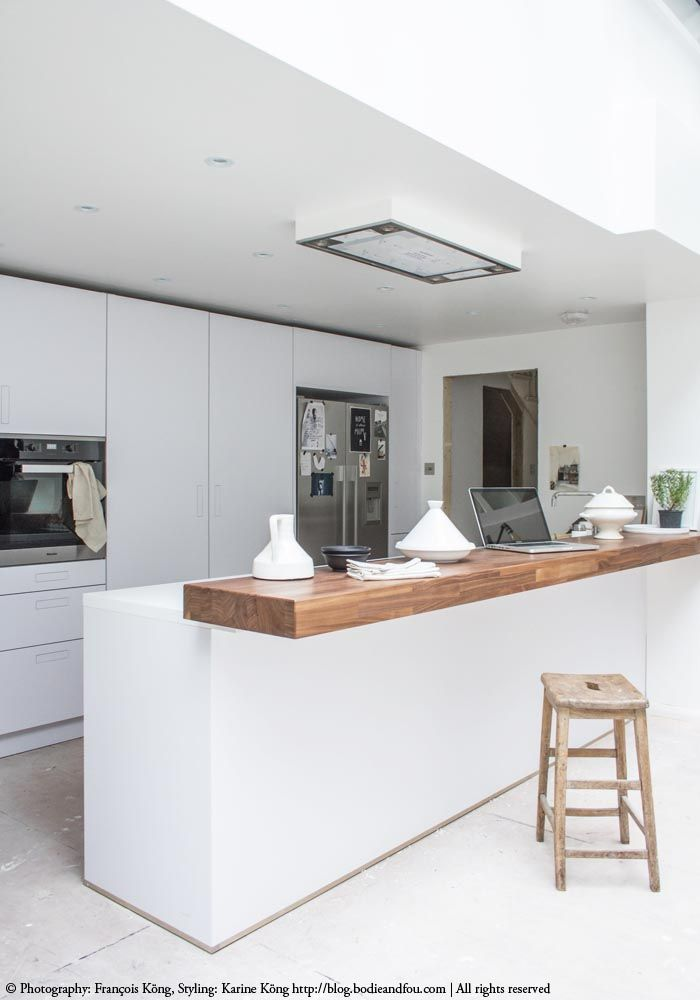 White kitchen, wooden breakfast bar