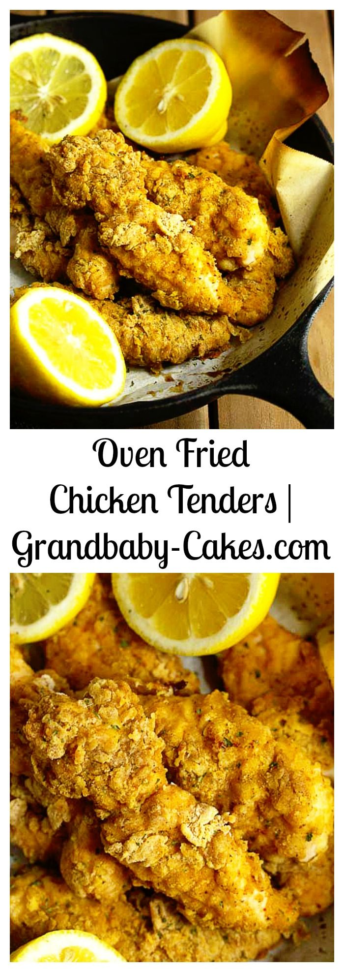 Oven Fried Chicken Tenders - Perfectly Crispy and Crunchy just like they are fried!  | Grandbaby-Cakes.com
