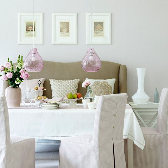 A Mixture Of Blush Pink And Taupe Tones Brings Elegance To This Smart But  Relaxed Dining Room, While The Pink Glass Pendant Lights Create A Focal  Point. Part 80
