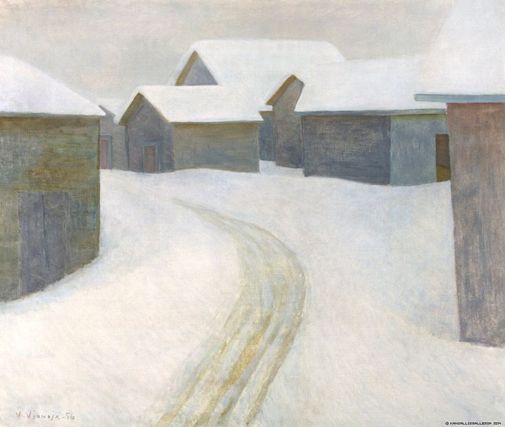Vionoja, Veikko (Finnish, 1909-2001.)   The Old Village,  1956. Oil on canvas.  Height 85,00 cm, width 100,00 cm.  From Finnish National Gallery - Art Collections.