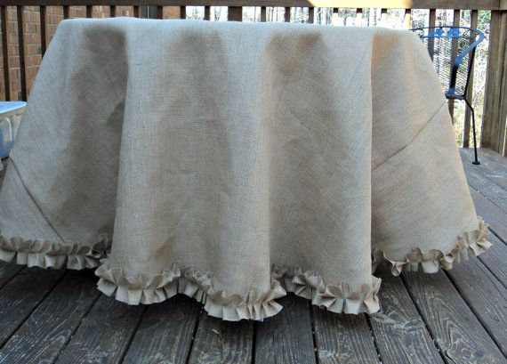 60 Round Burlap Tablecloth With Ruffles Rustic By Theruffleddaisy