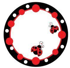 Étiquette ronde, rouge et noire, coccinelles.