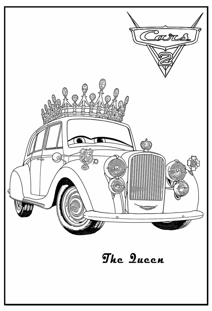 Antique cars coloring pages - Cars 2 Printable Coloring Pages Cars Coloring The Queen Cars Coloring Luigi Cars Coloring Lamborghini