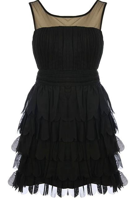 ruffles: Black Shorts, Ruffle Dress, Scallops Night, Bridesmaid, Shorts Dresses, Scallops Dresses, Ruffles Dresses, Night Dresses, Little Black Dresses