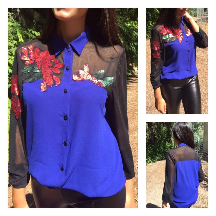 SHIRT WITH SEQUINS FLOWERS PRICE:60€ SIZES:S-M-L-XL MOD:1173-2037