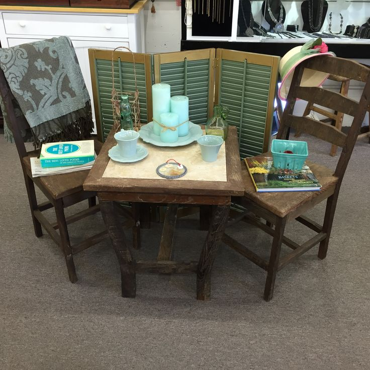 Custom adorable table and chairs from reclaimed wood - by Bulldog Designs.
