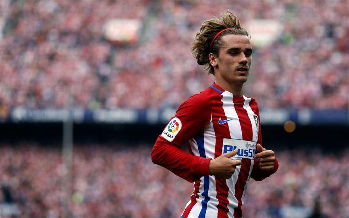 Descargar fondos de pantalla 4k, Antoine Griezmann, el desenfoque, el Atlético de Madrid, España, La Liga bbva, fútbol