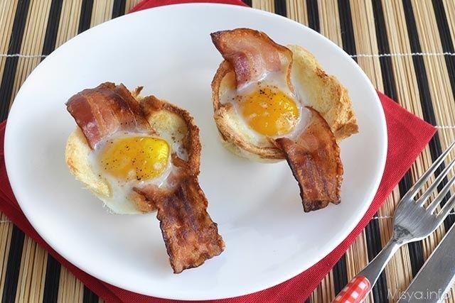 Ricetta: Cestini di uova e bacon | myCukBuk