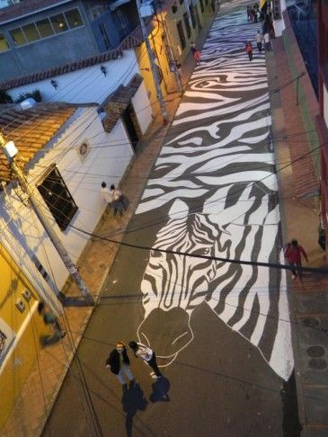 In Spanish the pedestrian crossing is called La Zebra. Cars do not often respect la zebra. To make to make this problem visible, 100en1día painted a pedestrian street.