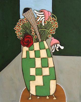 "John Baird ""Chequered Vase"", Art House Gallery   Art Network Australia"