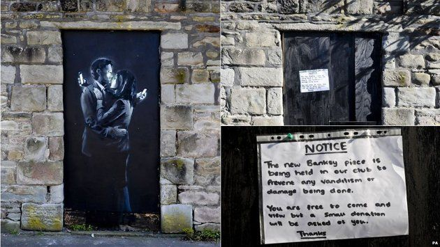 The CCTV camera was actually put in place by the club to deter vandalism, but its footage is now thought to perhaps hold one of only a few images in existence of the world famous graffiti artists.