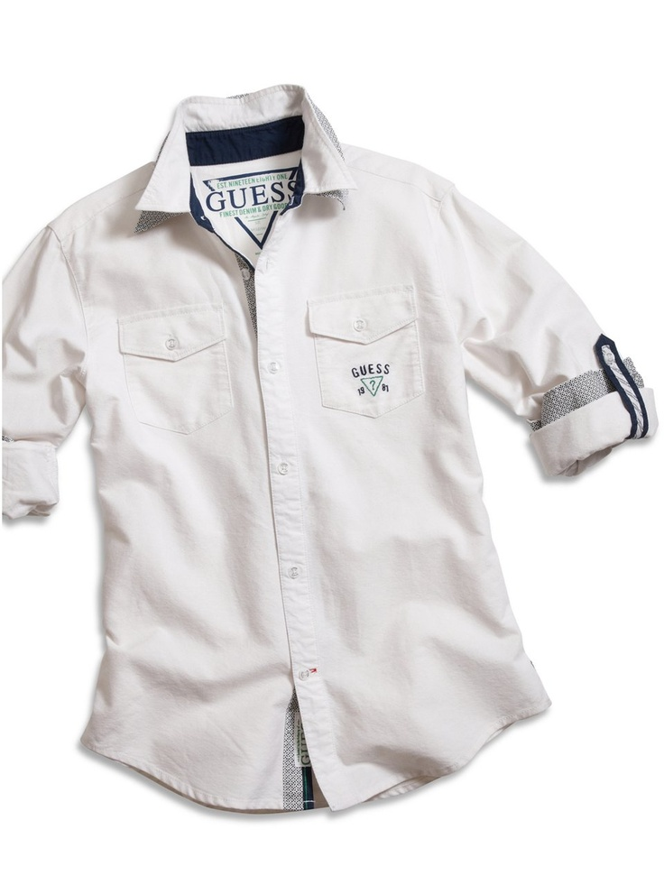 GUESS Kids Boys Big Boy Sidewinder Shirt, WHITE (12/14)