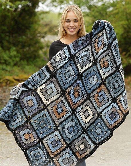 Kare motifli örgü battaniye modeli - Battaniye Örnekleri