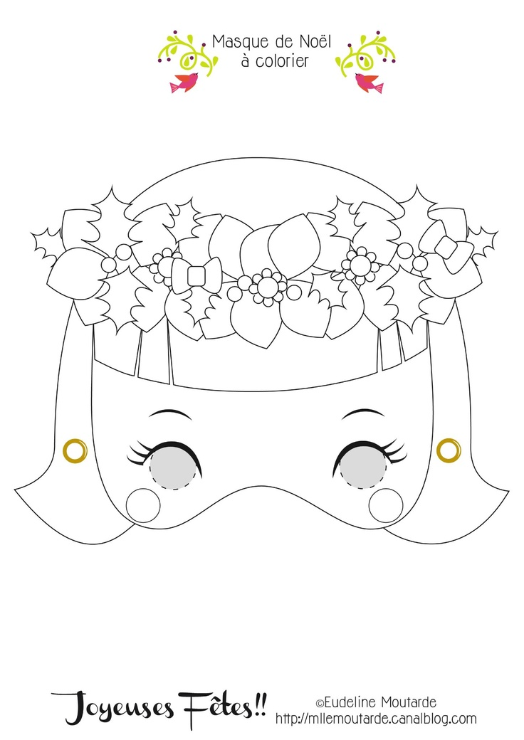 Madame Christmas! Free Paper Mask! Miss Mustard wish you happy holidays!!!  Cut, Color & play!