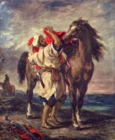 말 안장을 잡고 있는 모로코인 외젠-들라크루아(Eugene Delacroix)   작품해설: 1855년 외젠 들라크루아에 의해 그려진 그림이다. 캔버스에 유채되는 방식으로 그려졌으며 지금은 에르미타주 미술관에 보관중이다.  감상평: 어둡고 위태로운 듯한 느낌을 주는 하늘과 짙은 색의 바다를 배경으로 위태로운 느낌을 준다.