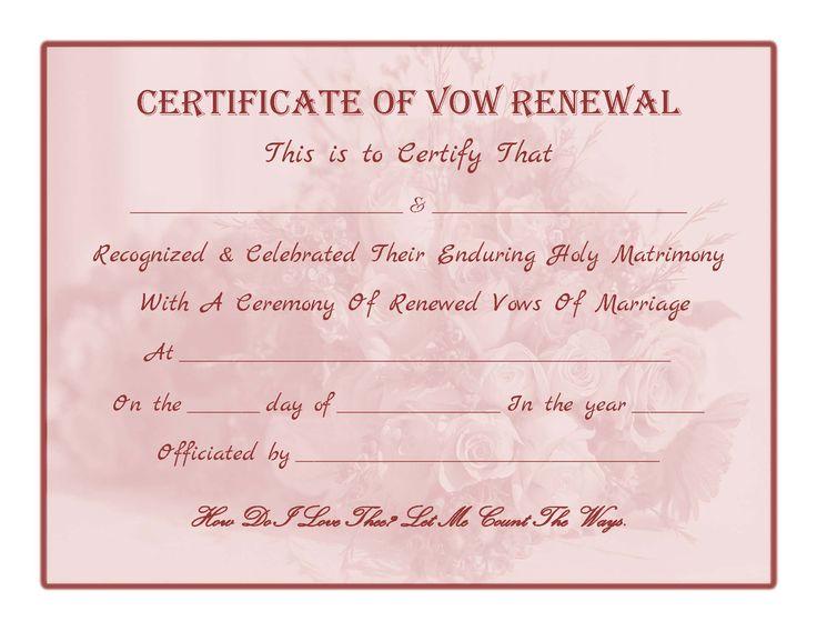 Renewing Wedding Vows Quotes: Free Printable - Vow Renewal Certificate
