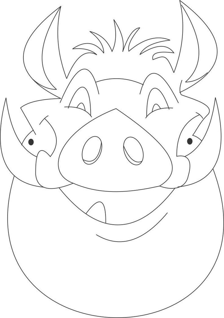 Pumba mask printable coloring page for kids