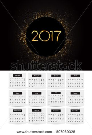 Design Calendar for 2017 on white background, with golden glitter isolated on black background, text design gold colored, vector elements for calendar 2017.