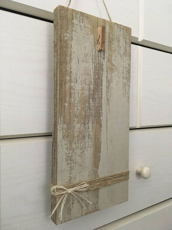 Reclaimed wood wall picture frame shabby chic clothespin