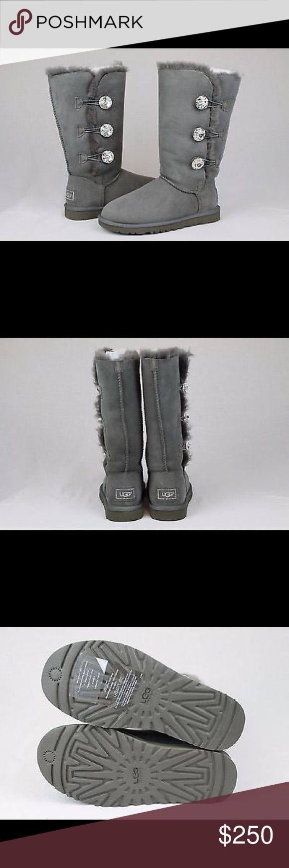 UGG BAILEY BLING TRIPLET BOOT, CHARCOAL GREY Brand new Ugg Australia Bailey Bling Button Triplet, Charcoal Grey, unused, unworn. Purchased directly from UGG, has UGG sticker on sole and UGG authenticating materials in box, along with additional small crystals. Happy to ship in UGG box, but will result in higher cost do to additional cost of purchasing large shipping box and additional shipping charges. Please indicate your preference directly in Comments. UGG AUSTRALIA Shoes Winter & Rain…