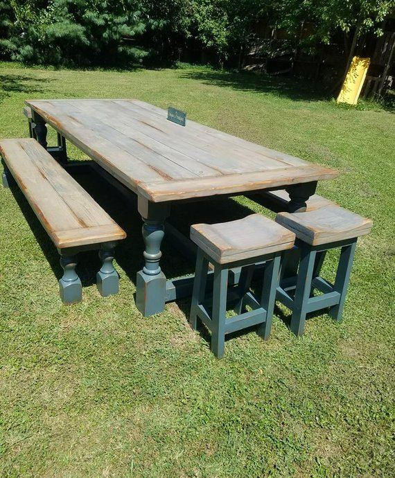 Awesome Rustic New England Farmhouse Table Two Bench Four Stools 7 Ibusinesslaw Wood Chair Design Ideas Ibusinesslaworg