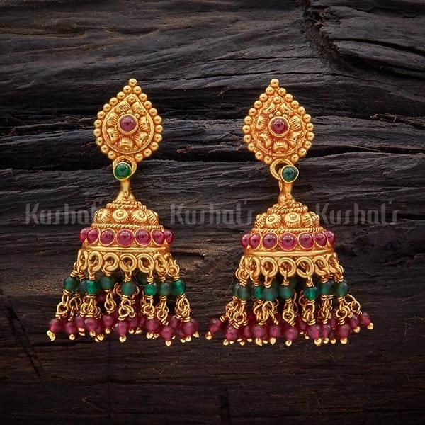 Designer silver temple jhumkas studded with spinal ruby