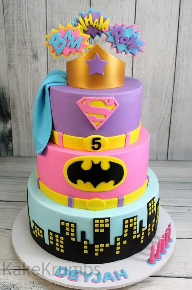 Girly action hero cake, batman,  superman and wonderwoman!!!!