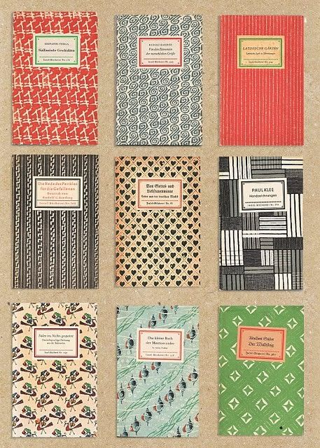 Great patterns and colors on these vintage books by Mavis