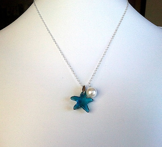 Starfish with White Pearl Necklace  Swrovski by LaLaCrystal, $24.50